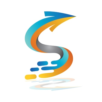 Modèle de logo lettre splash flèche