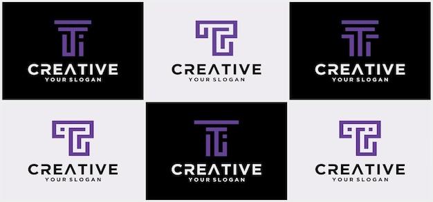 Modèle de logo lettre t. icône abstraite. modèle de vecteur de conception de logo créatif lettre t. police de caractères de la technologie t.