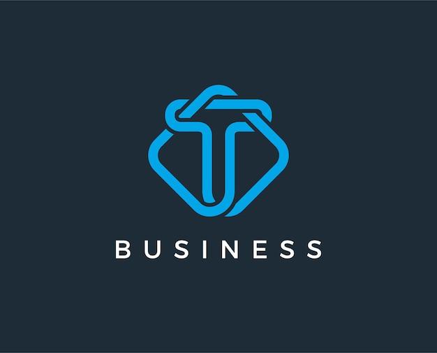 Modèle de logo lettre t minimal
