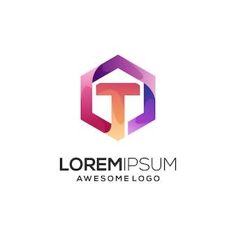 Modèle de logo lettre t