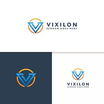 Modèle de logo lettre v. logo de vecteur de conception icône sport