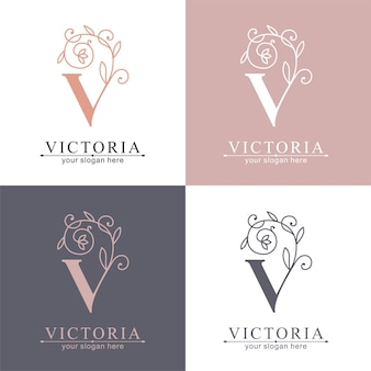 Modèle de logo lettre v. monnogramme, motif floral délicat. logo personnel.