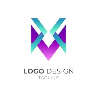 Modèle de logo lettre x et m