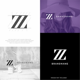 Modèle de logo lettre z zz