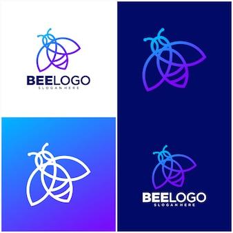 Modèle de logo de ligne d'abeille