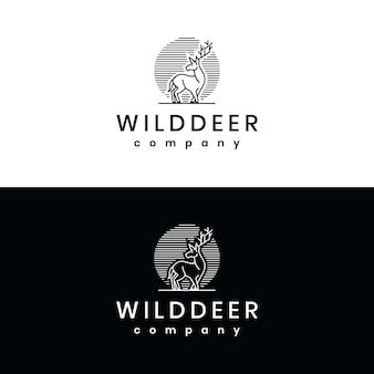 Modèle de logo ligne cerf ligne