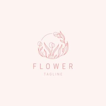 Modèle de logo de ligne de fleur de luxe