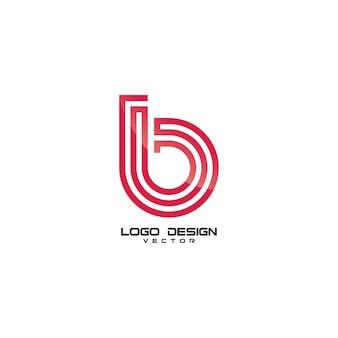 Modèle de logo de ligne de ligne de symbole b