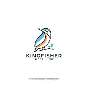 Modèle de logo de ligne de martin-pêcheur créatif