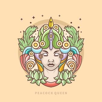 Modèle de logo de ligne de reine de paon