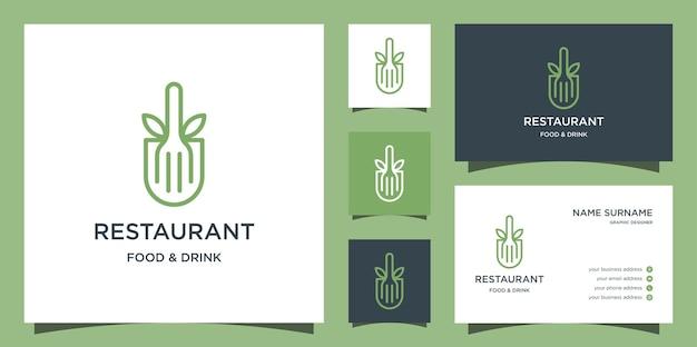 Modèle de logo de ligne de restaurant, de feuille et de fourchette