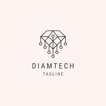 Modèle de logo de ligne de technologie diamant