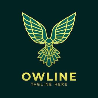 Modèle de logo de ligne verte royale