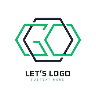Modèle de logo linéaire plat aller