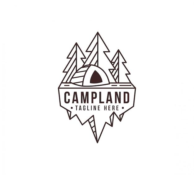 Modèle de logo lineart camping