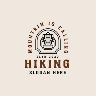 Modèle de logo lineart randonnée aventure montagne