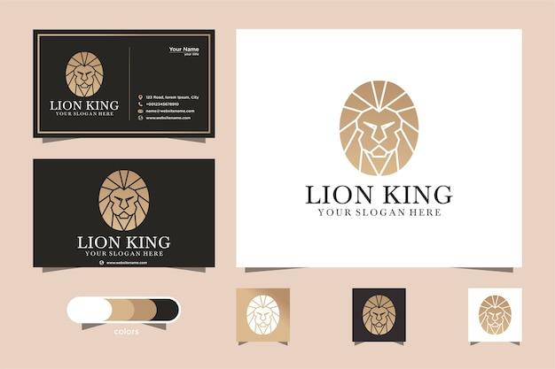Modèle de logo de lion et carte de visite