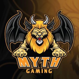 Modèle de logo lion chimera myth esport