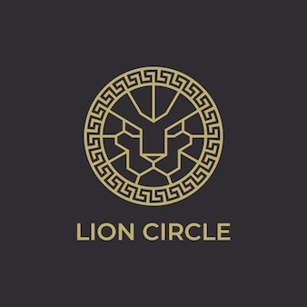 Modèle de logo lion head circle