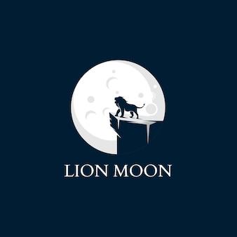 Modèle de logo lion et lune