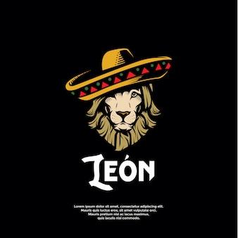Modèle de logo de lion mexicain