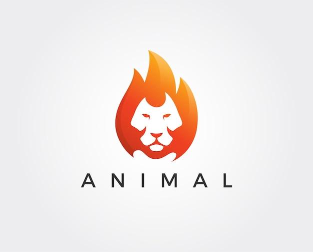 Modèle de logo de lion minimal