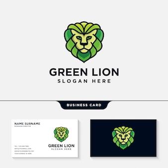Modèle de logo de lion vert avec un modèle de carte de visite