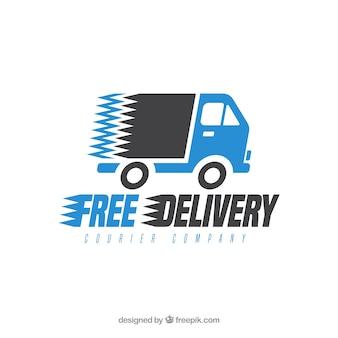 Modèle de logo de livraison avec camion