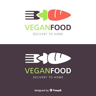 Modèle de logo de livraison de nourriture végétalienne