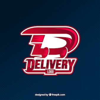 Modèle de logo de livraison rouge moderne