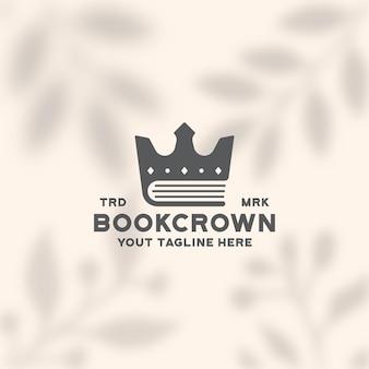 Modèle de logo de livre couronne éducation