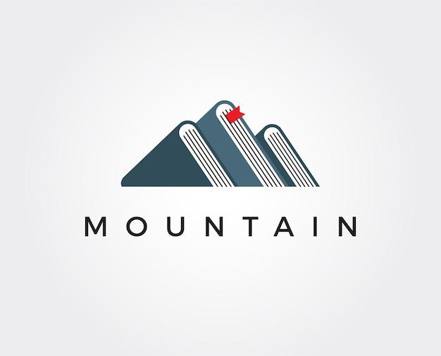 Modèle de logo de livre de montagne