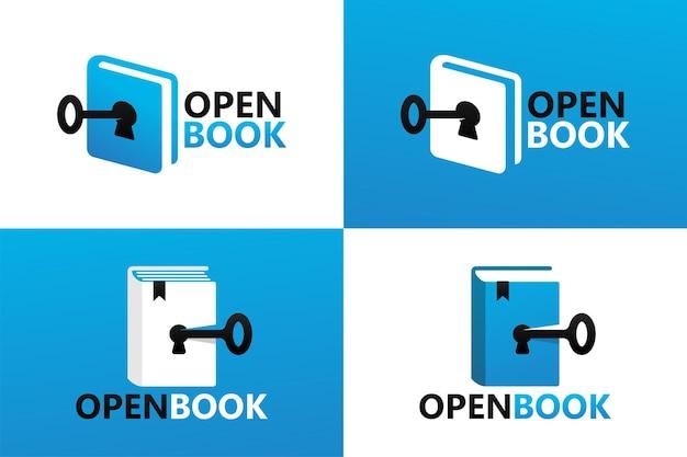 Modèle de logo de livre ouvert clé vecteur premium
