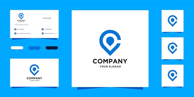 Modèle de logo de localisation c et carte de visite