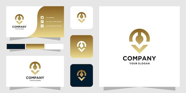 Modèle de logo de localisation m et carte de visite