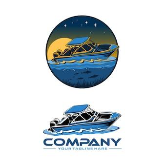 Modèle de logo de logo de bateau de vitesse