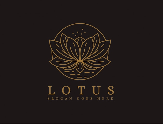 Modèle de logo lotus lineart