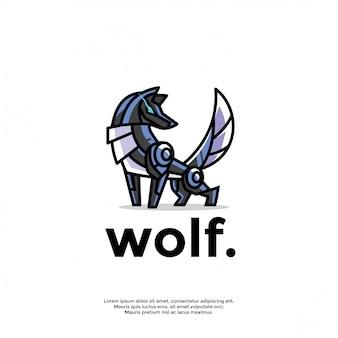 Modèle de logo de loup robotique unique