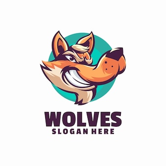 Modèle de logo de loups