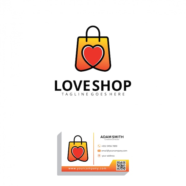Modèle de logo love shop