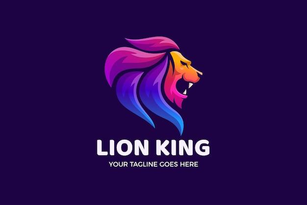 Modèle de logo de luxe dégradé de roi lion