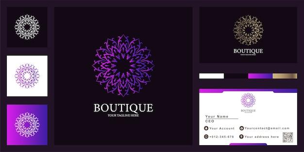 Modèle de logo de luxe fleur, boutique ou ornement avec carte de visite.