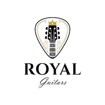 Modèle de logo de luxe royal guitars