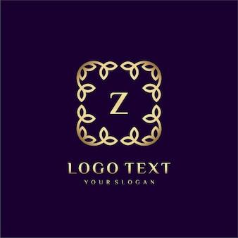 Modèle de logo de luxe (z) pour votre marque avec décoration florale