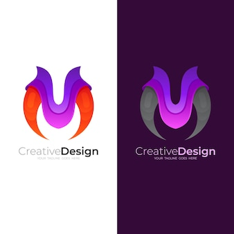 Modèle de logo m, icône de la lettre m