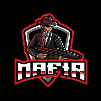Modèle de logo mafia esport