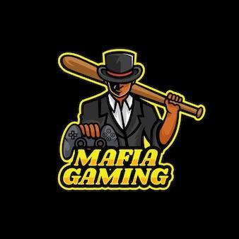 Modèle de logo de mafia gaming e sport et sport style.