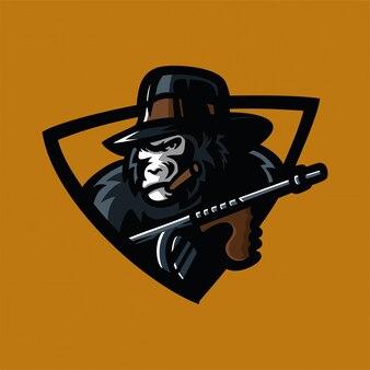 Modèle de logo mafia gorille sport jeu mascotte