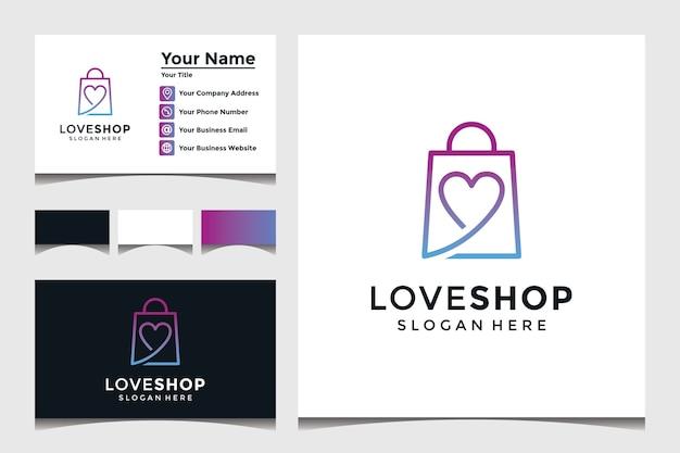 Modèle de logo de magasin d'amour avec conception de carte de visite