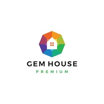 Modèle de logo de magasin de bijoux de maison de gemme